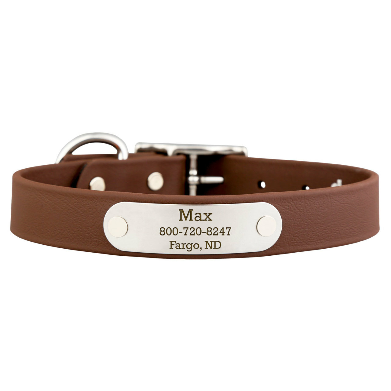Waterproof Soft Grip Dog Collar with Personalized Nameplate Brown