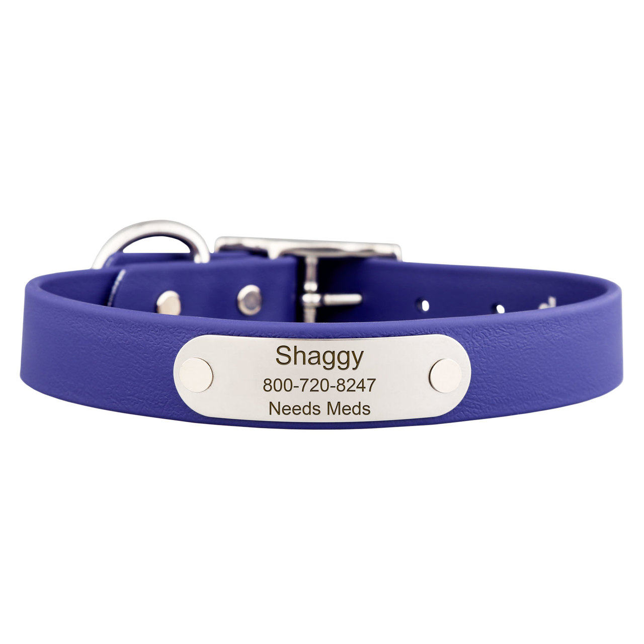 Waterproof Soft Grip Dog Collar with Personalized Nameplate Blue