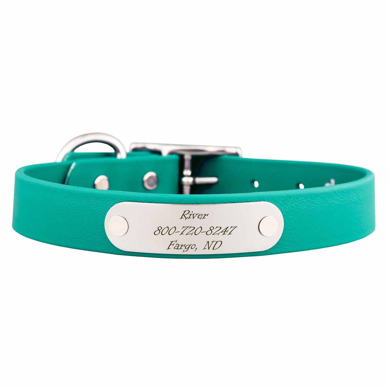 Waterproof Soft Grip Dog Collar with Personalized Nameplate Teal