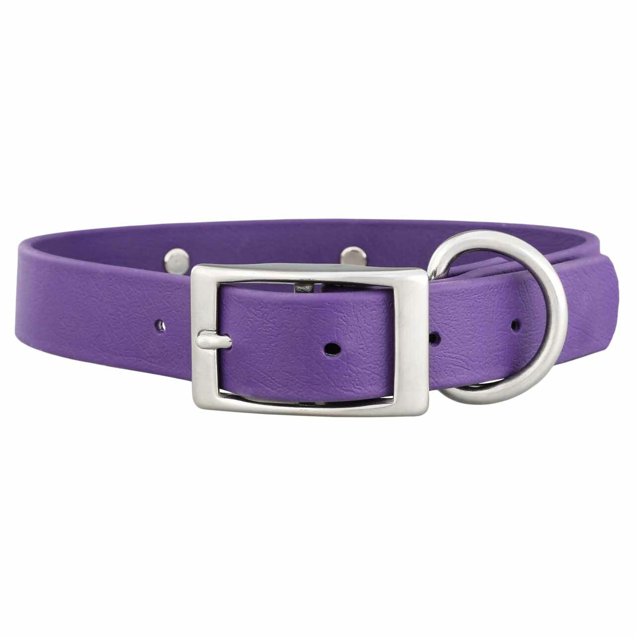 Waterproof Soft Grip Dog Collar with Personalized Nameplate Purple Buckle View