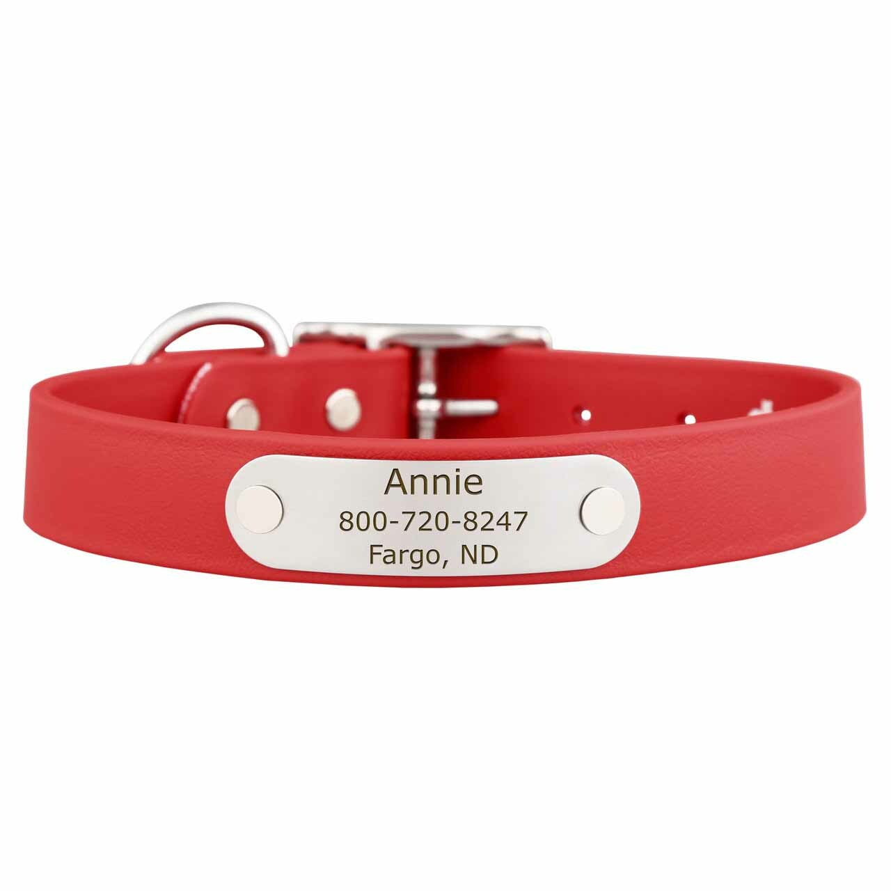 Waterproof Soft Grip Dog Collar with Personalized Nameplate Red