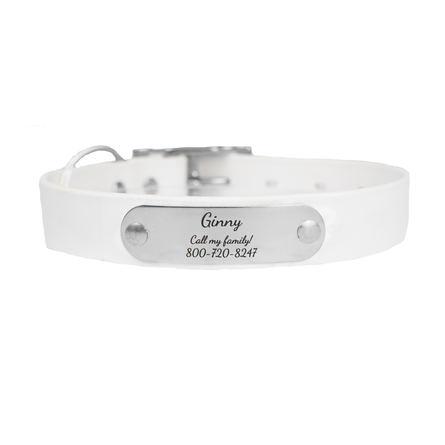 Waterproof Soft Grip Dog Collar with Personalized Nameplate White
