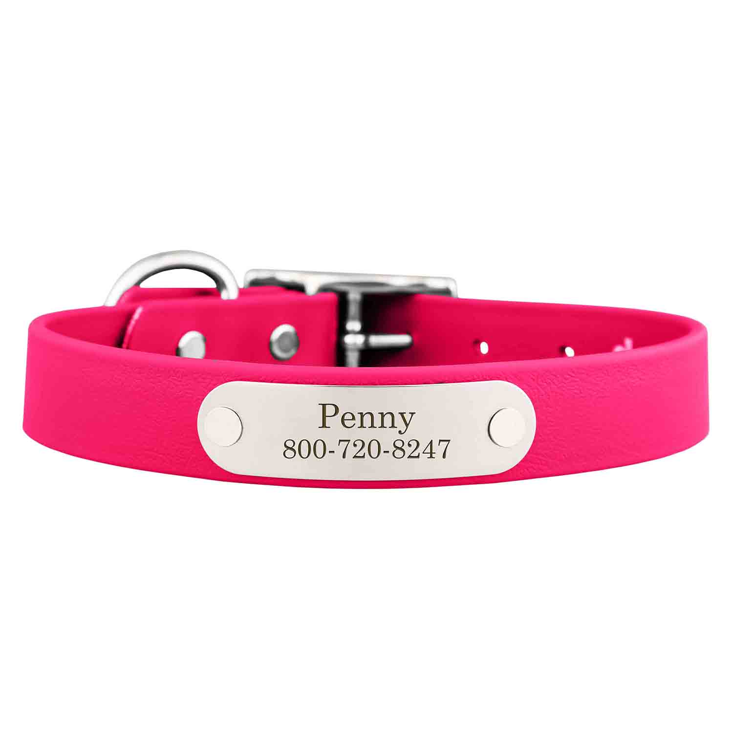 Waterproof Soft Grip Dog Collar with Personalized Nameplate Magenta
