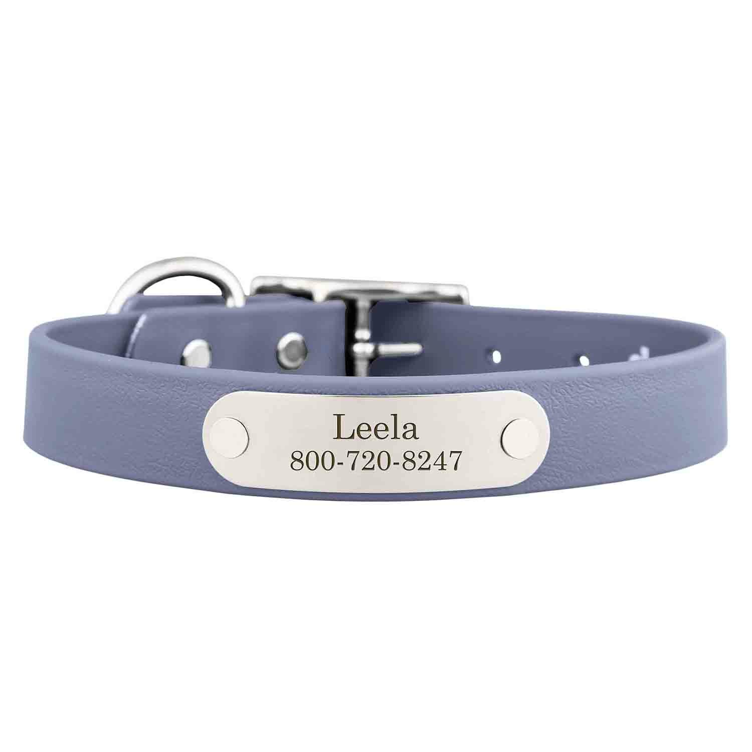Waterproof Soft Grip Dog Collar with Personalized Nameplate Gray