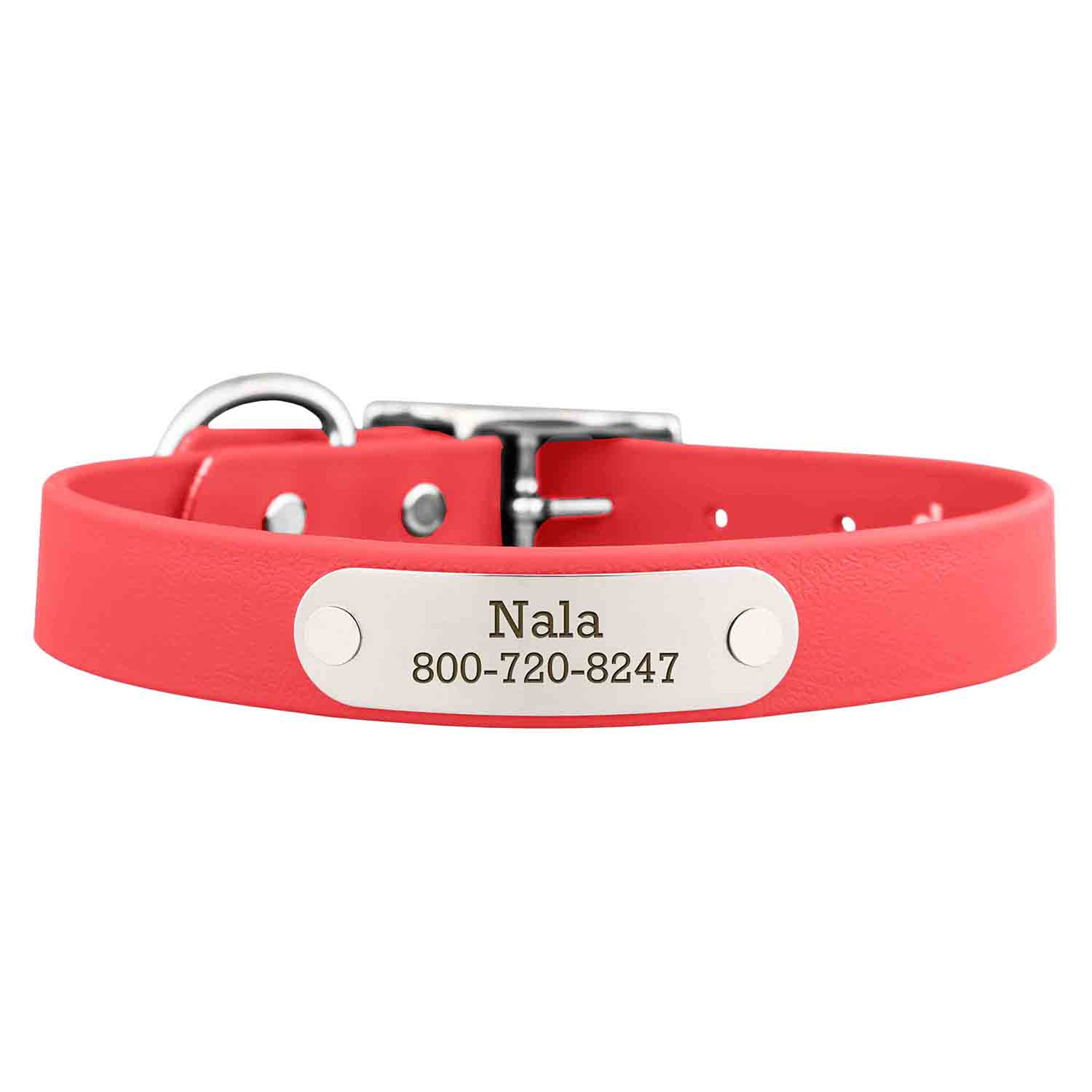 Waterproof Soft Grip Dog Collar with Personalized Nameplate Coral