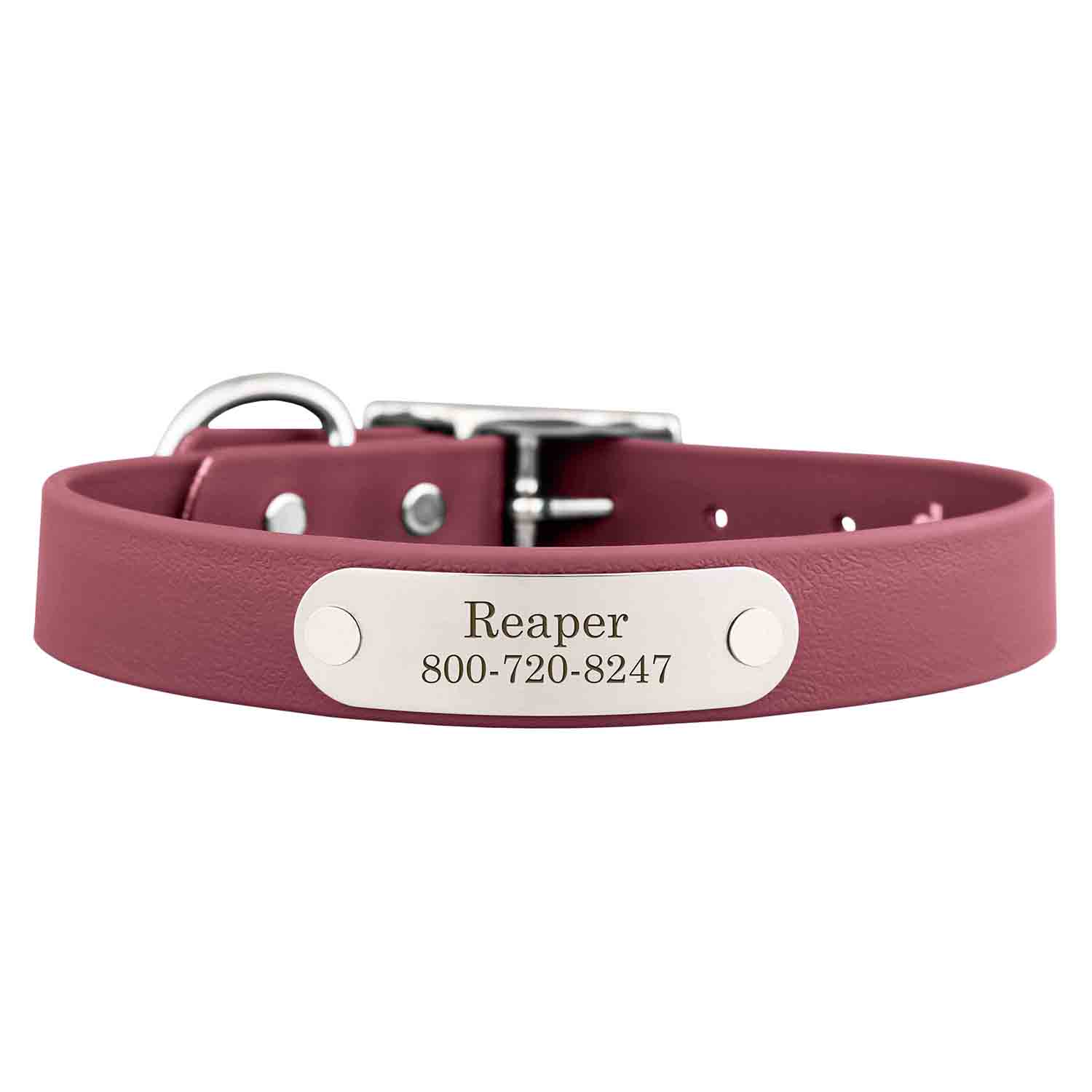 Waterproof Soft Grip Dog Collar with Personalized Nameplate Wine