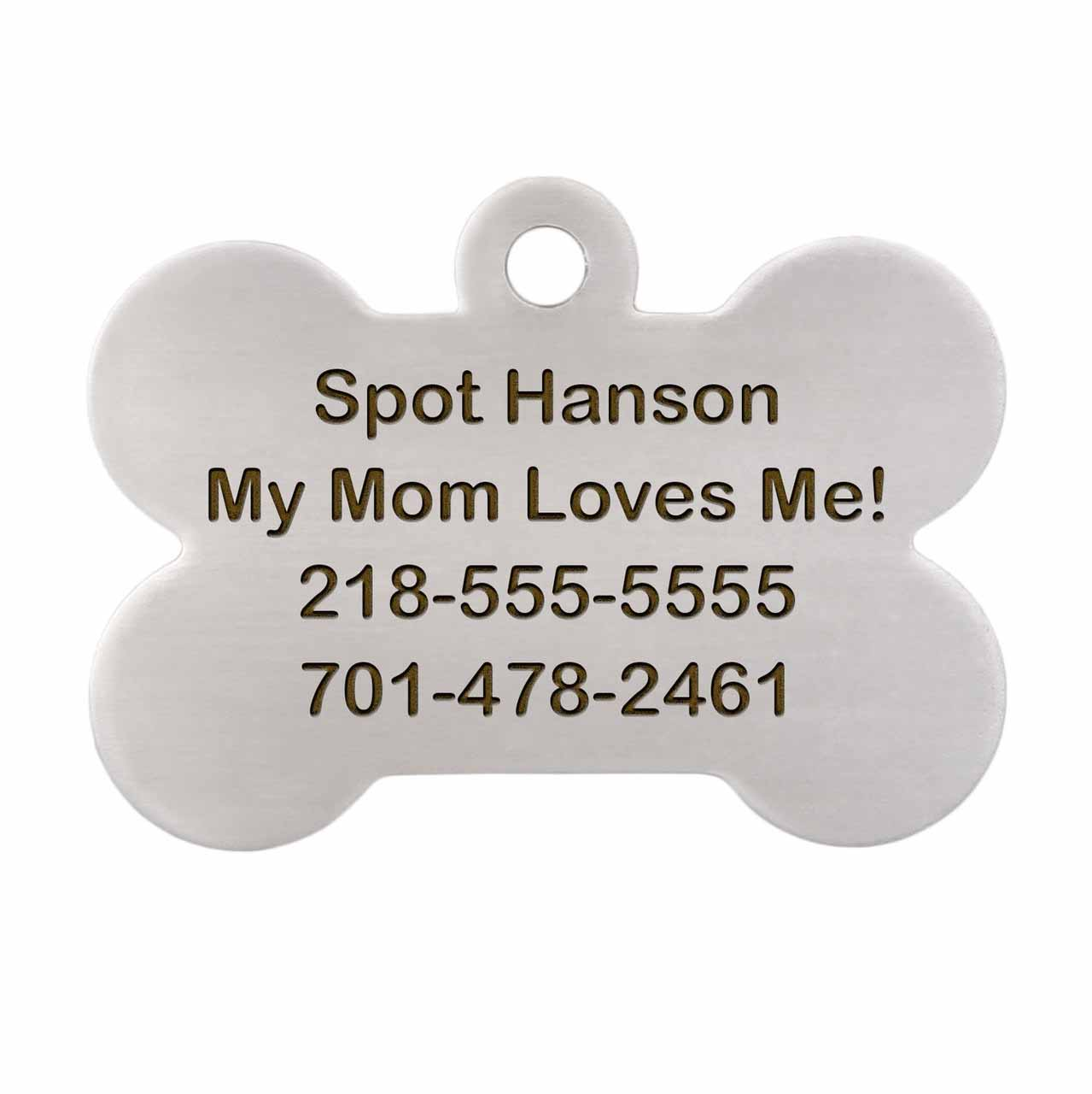I am Microchipped Bone ID Tag - Engraving Back Side Stainless Steel