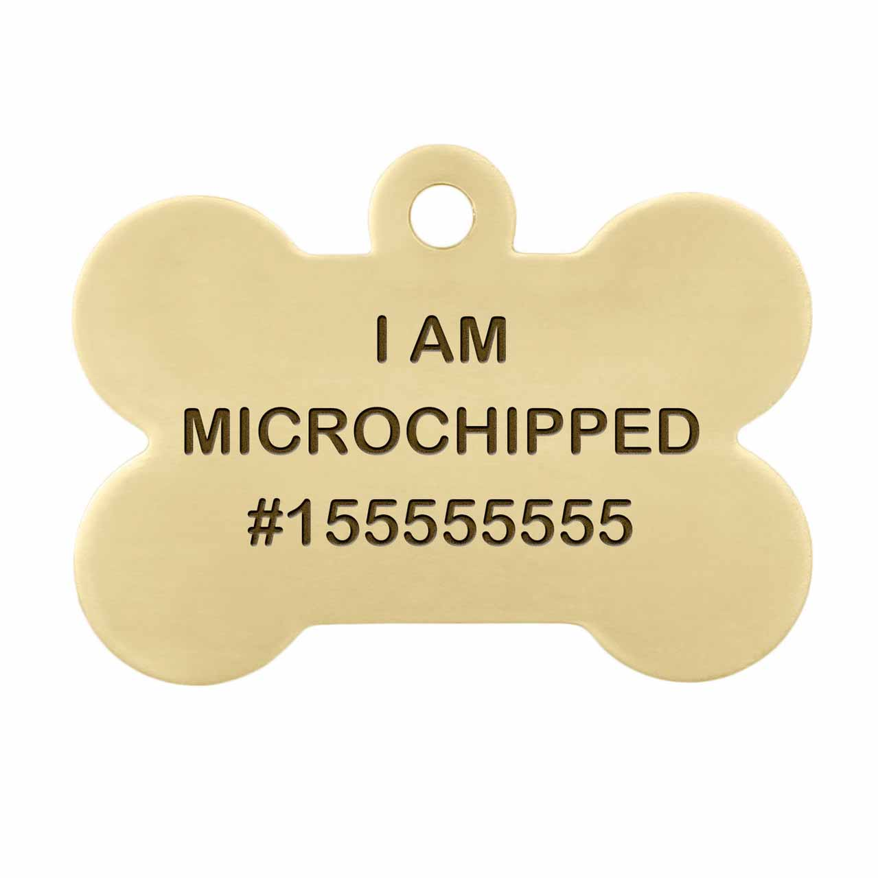 I am Microchipped Bone ID Tag - Engraving Front Side Brass