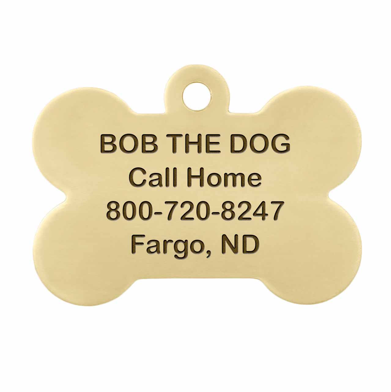 I am Microchipped Bone ID Tag - Engraving Back Side Brass