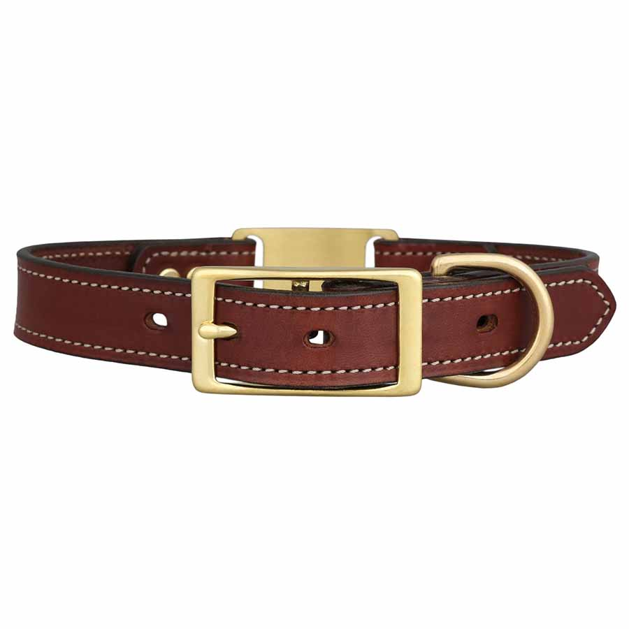 Leather Brass ScruffTag Collar Buckle View