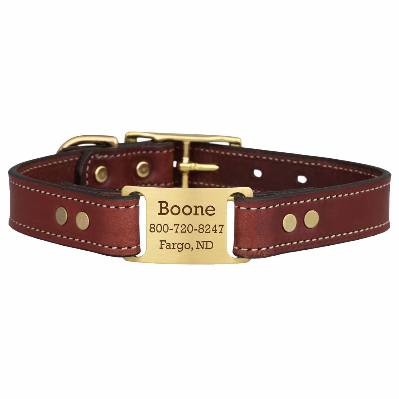 Brass ScruffTag Personalized Leather Dog Collars