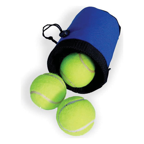 Personalized Drawstring Dog Treat Bag with Tennis Balls