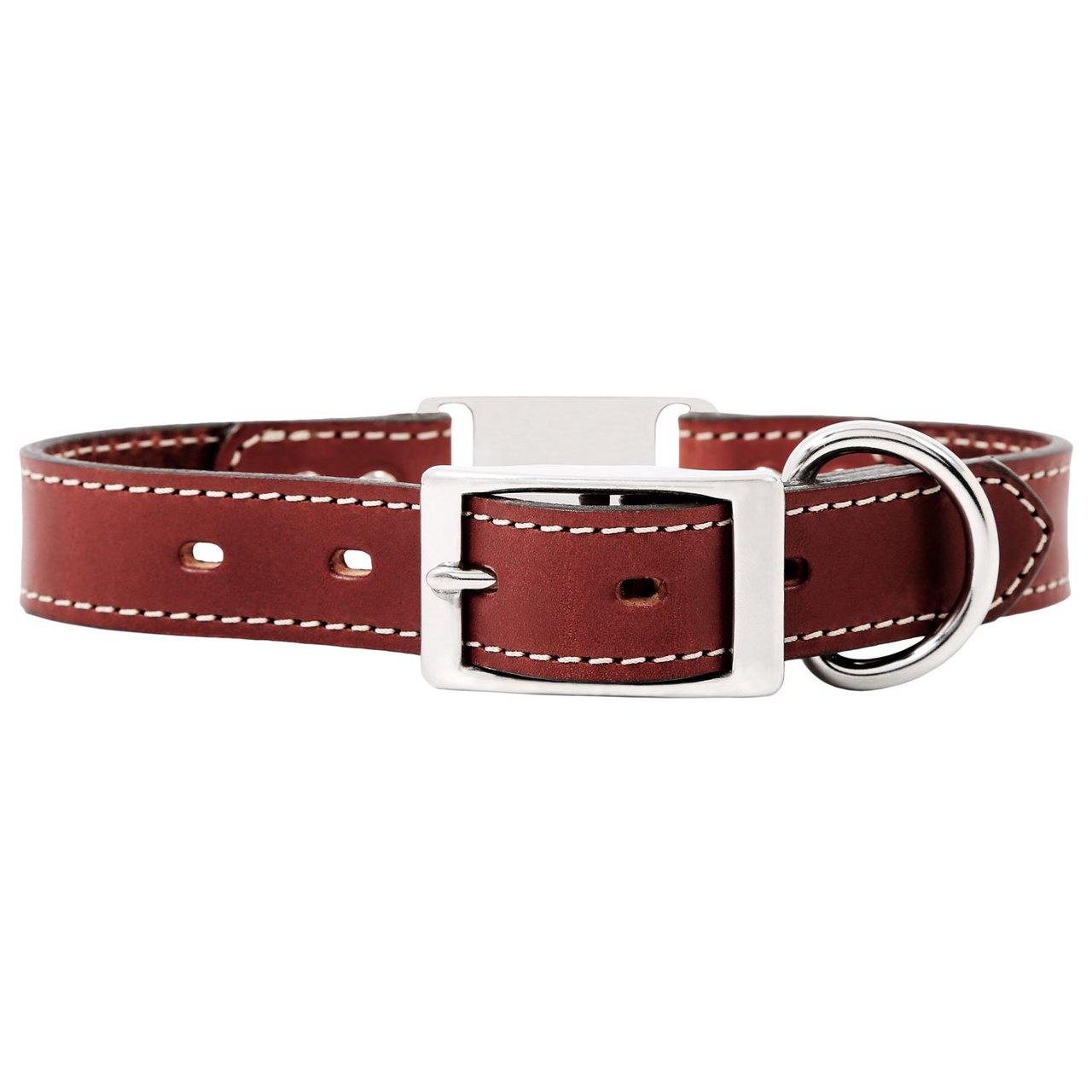 Leather ScruffTag Collar Chestnut Brown Back