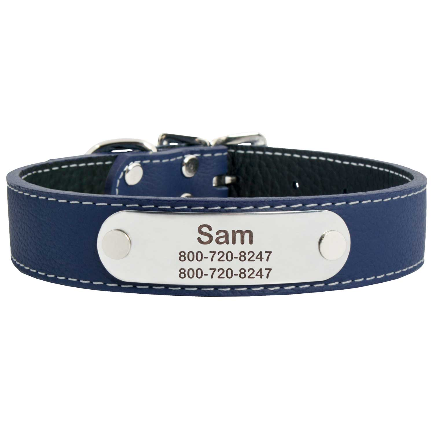 Designer Italian Leather Dog Collar Navy Blue