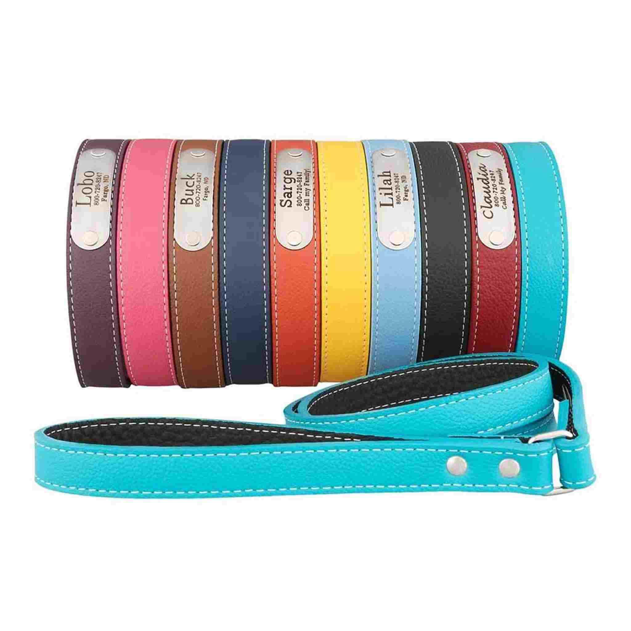 designer leather dog collars