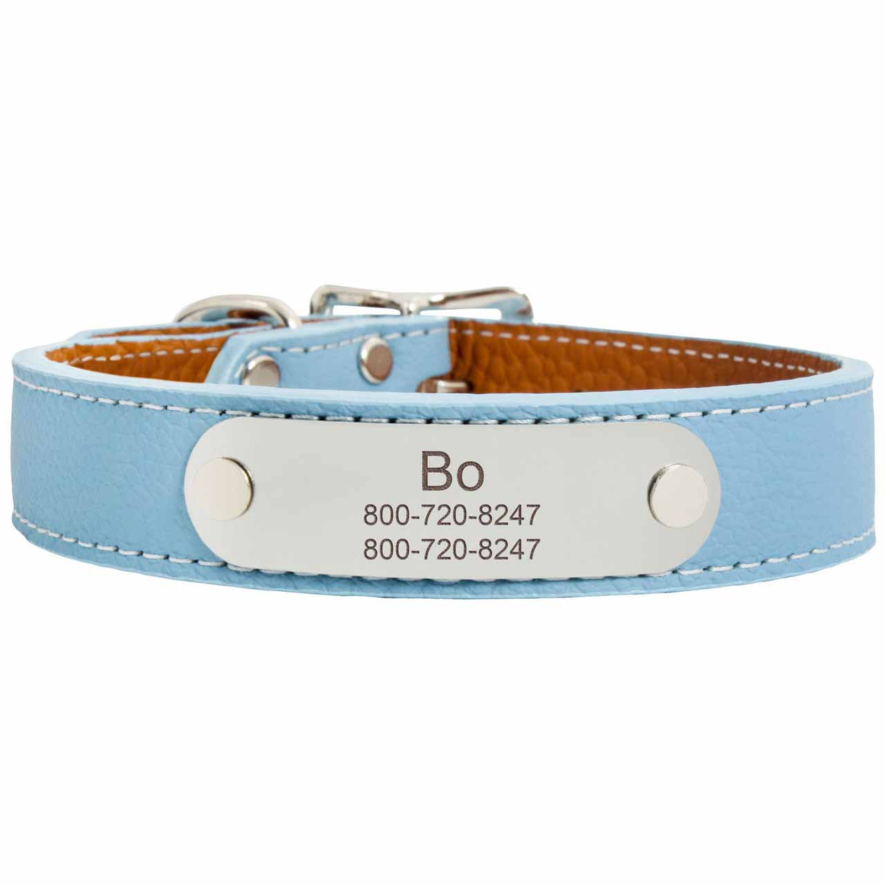 Designer Italian Leather Dog Collar Light Blue