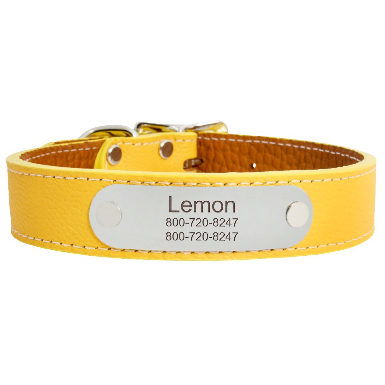 Designer Italian Leather Dog Collar Yellow