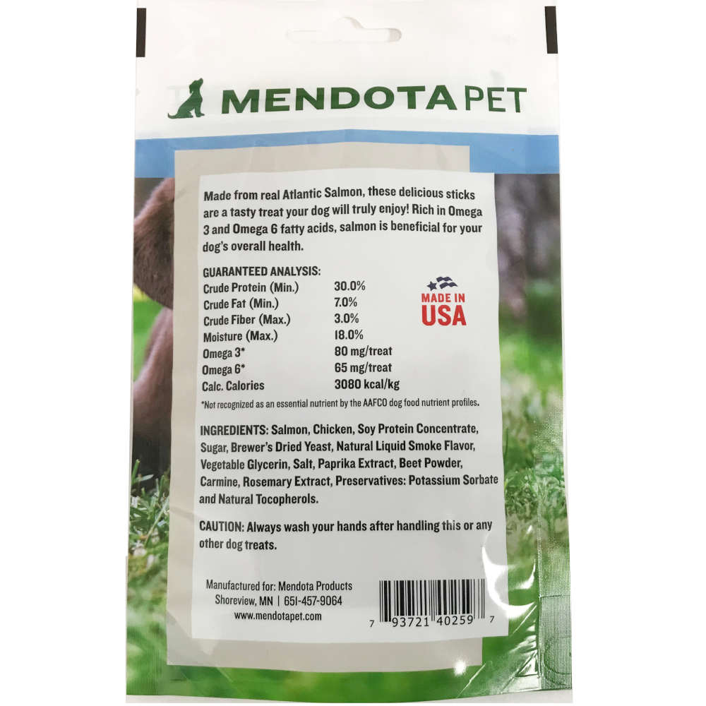 Mendota Pet Health Salmon Stick Treats Back of Bag