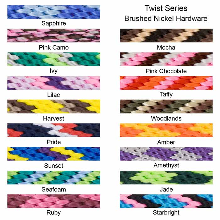 Mendota Braided Snap Leash Color Swatches Brushed Nickel Hardware