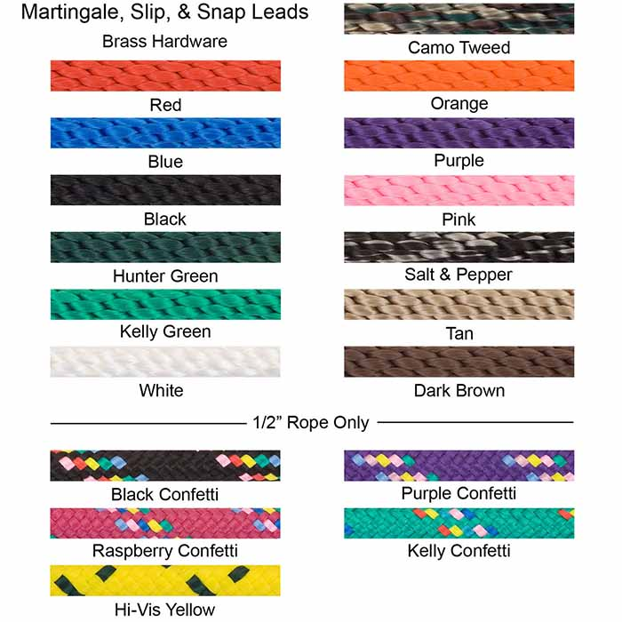 Mendota Braided Snap Leash Color Swatches Brass Hardware