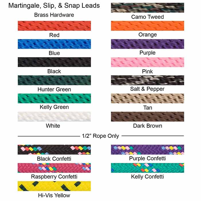 Mendota Braided Slip Lead Color Swatches