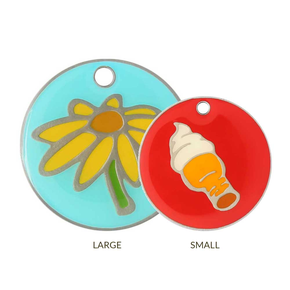 Enamel Designer Dog ID Tags by Andrew Sizes