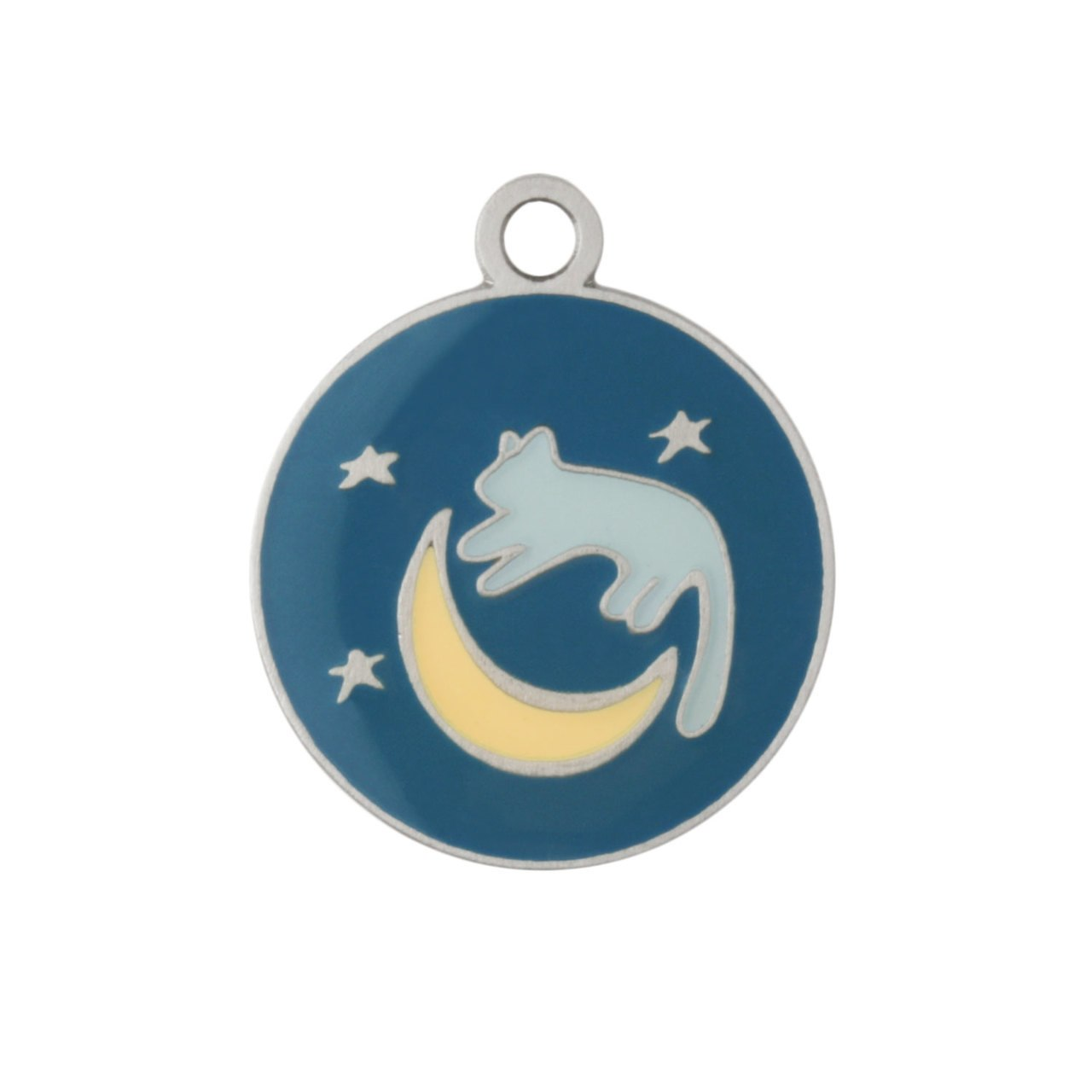 Painted Designer Cat ID Tags by Andrew Cat over the Moon