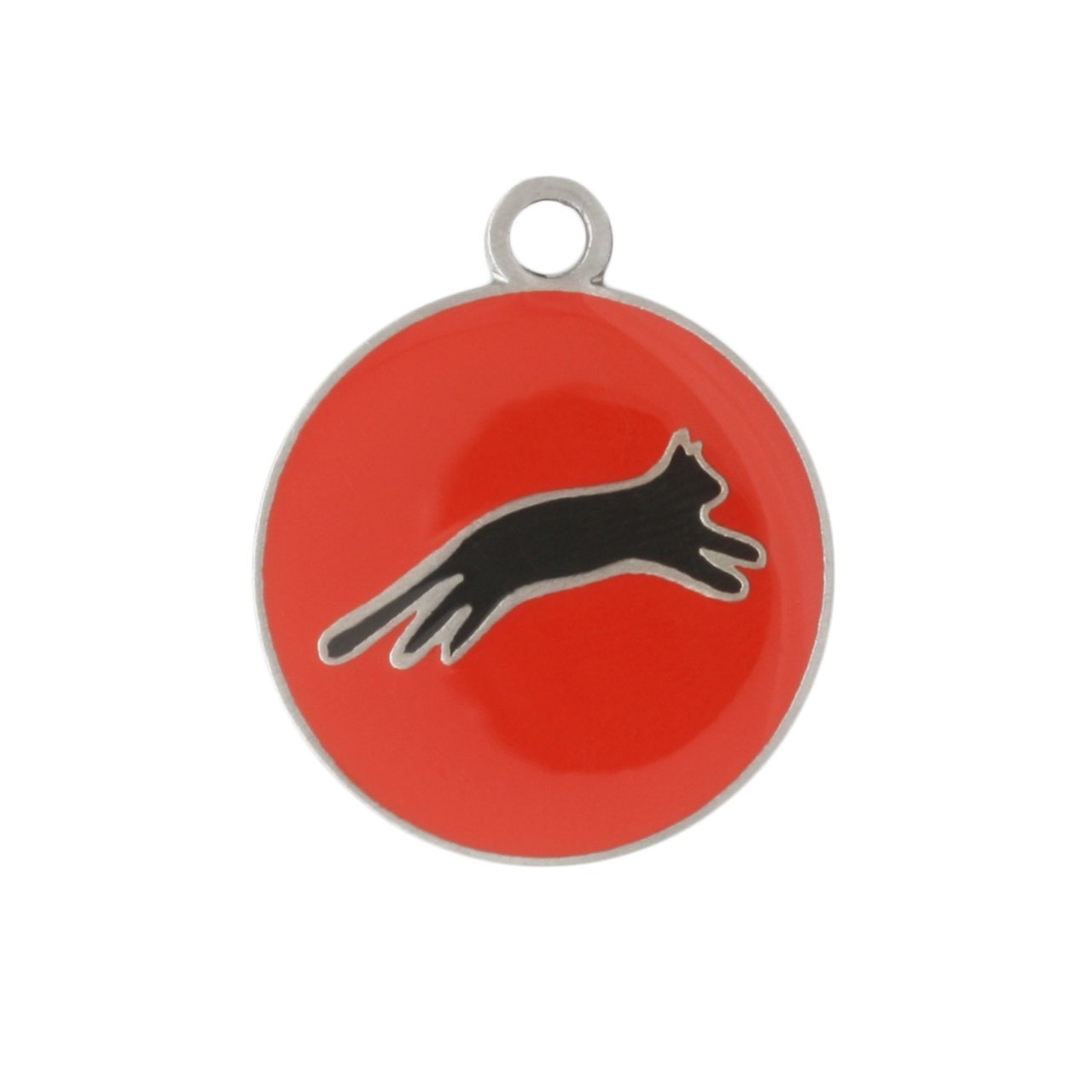 Painted Designer Cat ID Tags by Andrew Red Cat Jumping