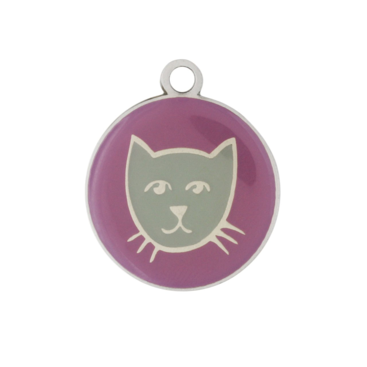 Painted Designer Cat ID Tags by Andrew Purple Cat Face