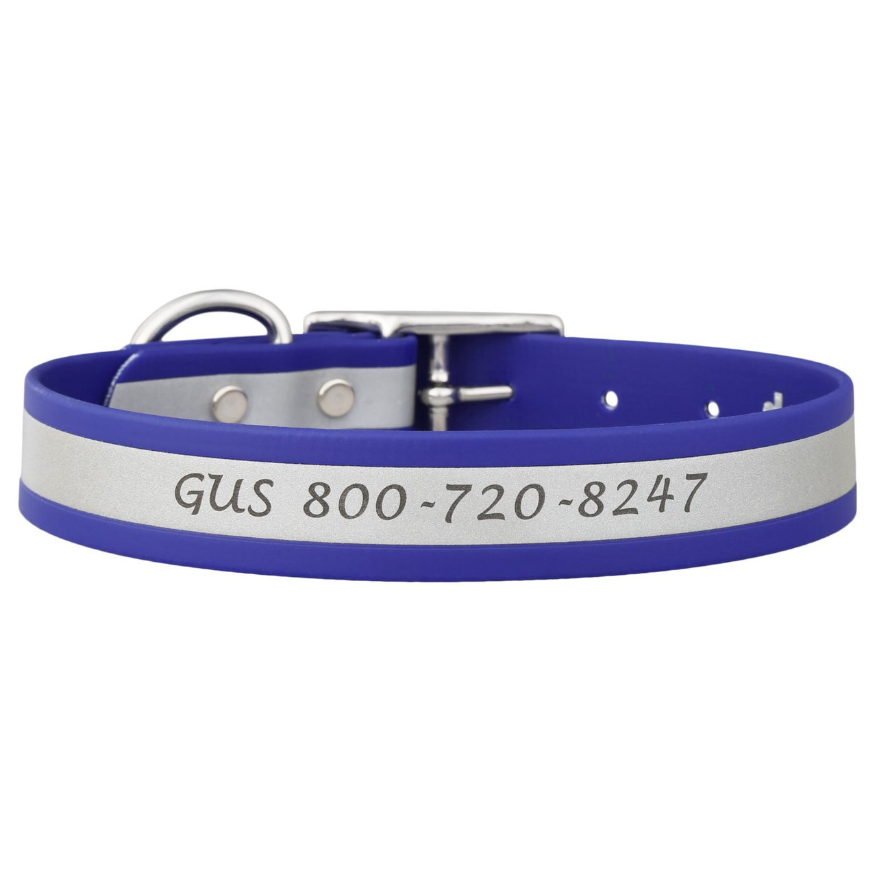 Engraved Reflective Waterproof Soft Grip Dog Collar Blue