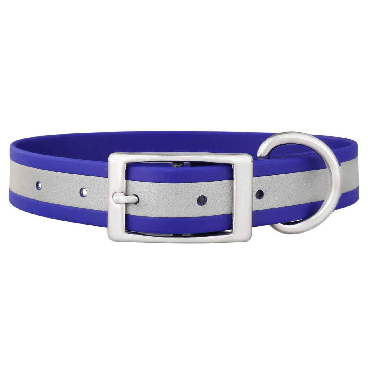 Engraved Reflective Waterproof Soft Grip Dog Collar Blue Buckle View