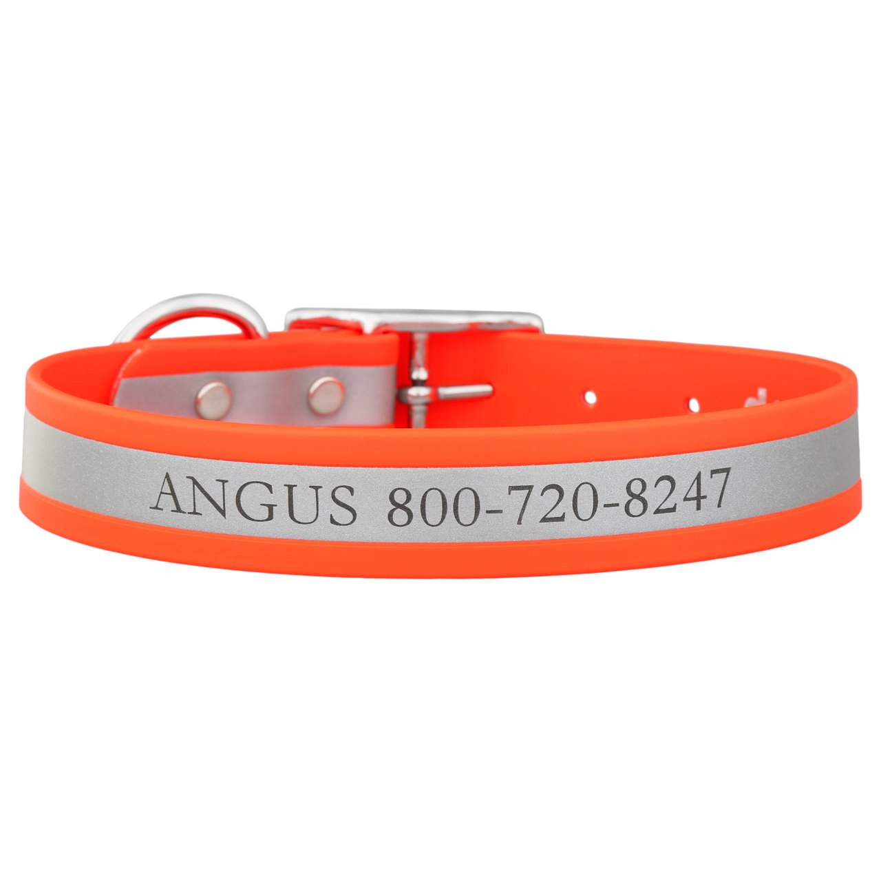 Engraved Reflective Waterproof Soft Grip Dog Collar Orange