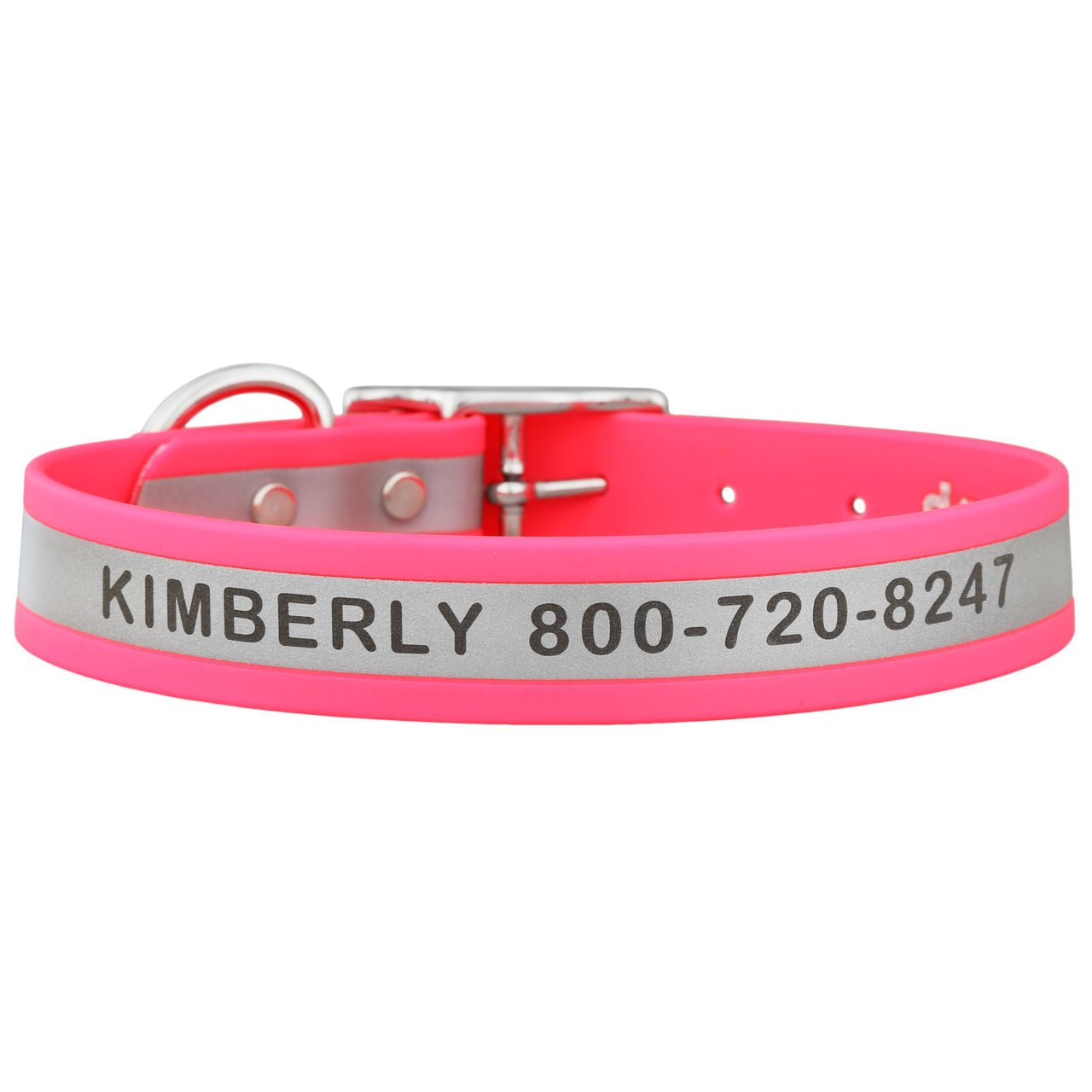 Engraved Reflective Waterproof Soft Grip Dog Collar Pink