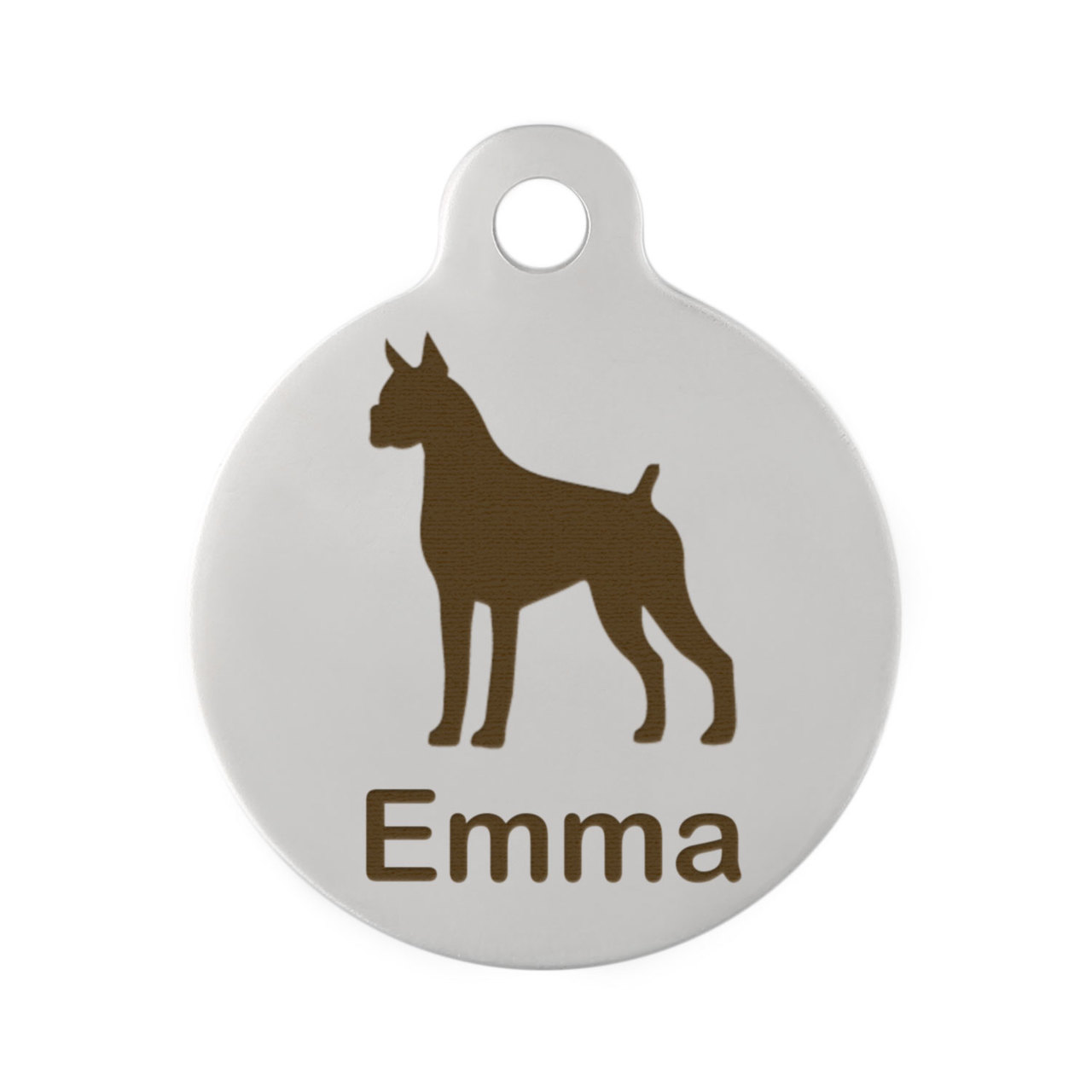 Custom Dog Breed ID Tags - Stainless Steel Boxer