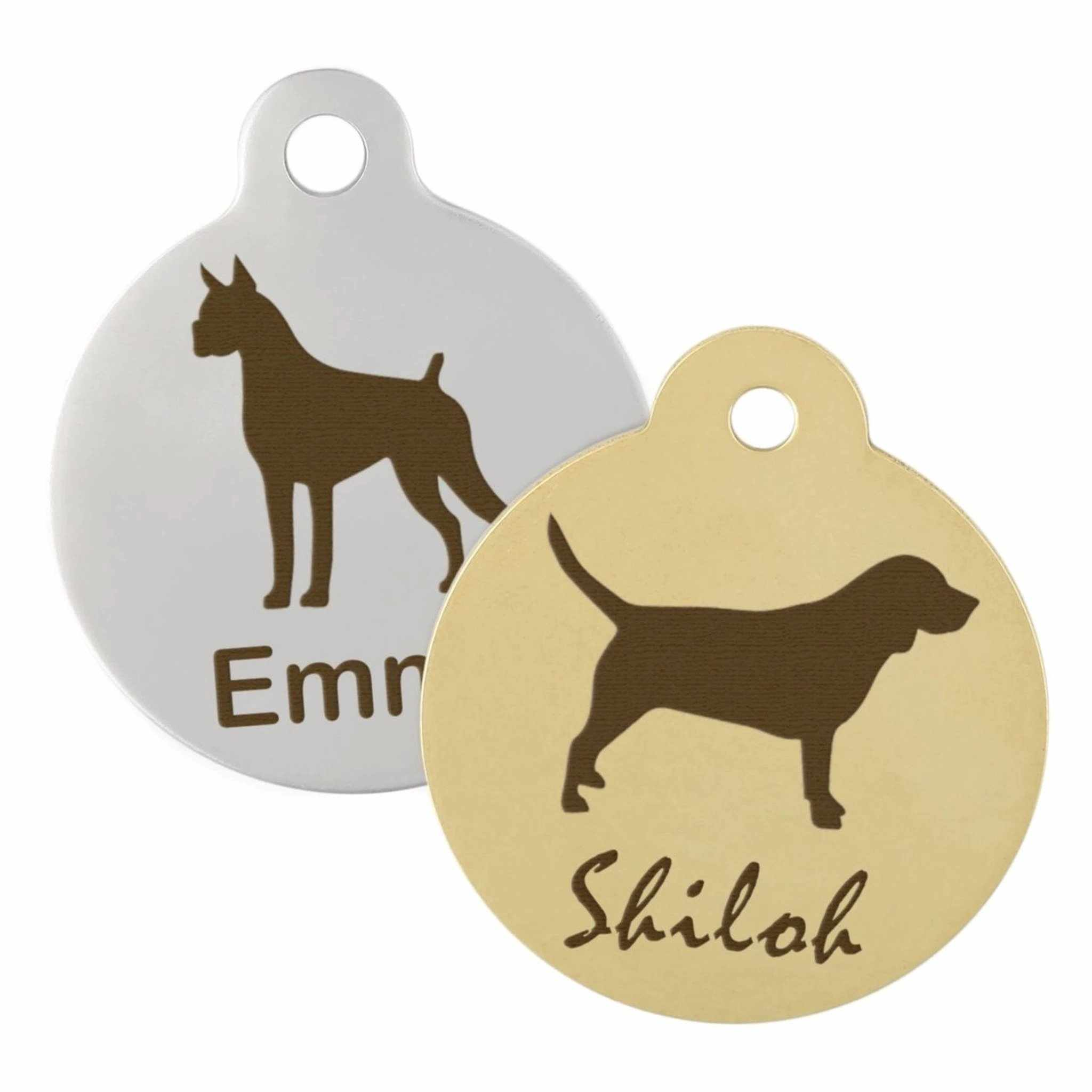 silver and gold dog name tags
