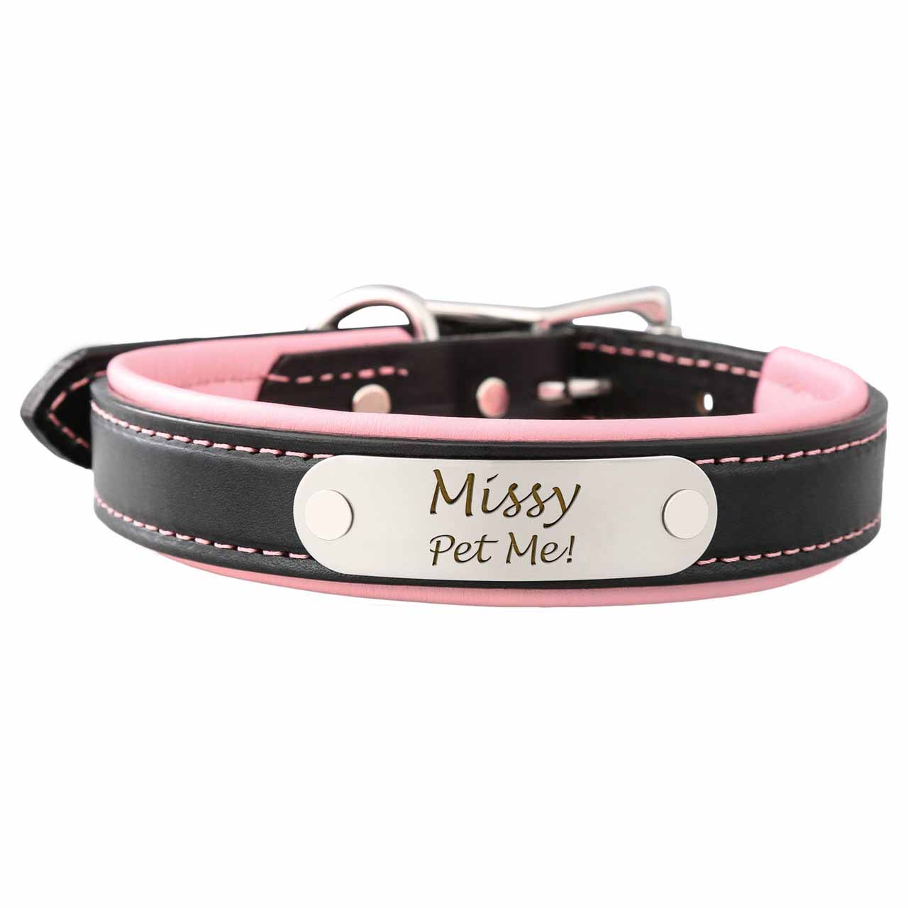 Padded Leather Collar with Nameplate Pink Stainless Steel