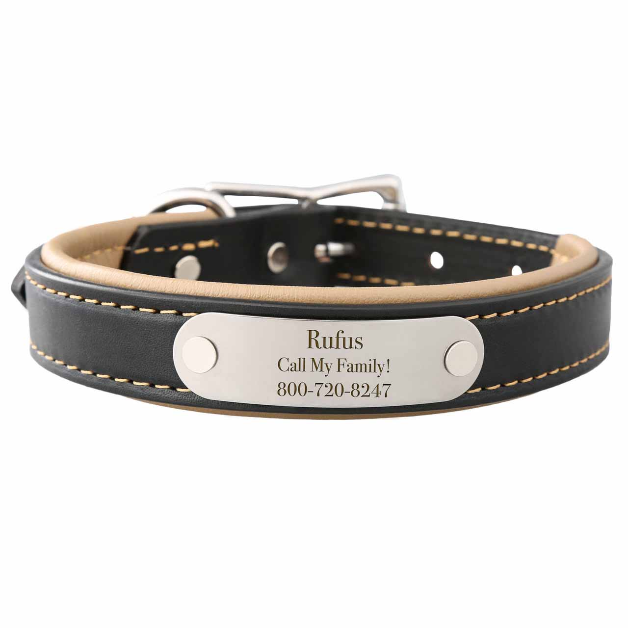 Padded Leather Collar with Nameplate Tan Stainless Steel