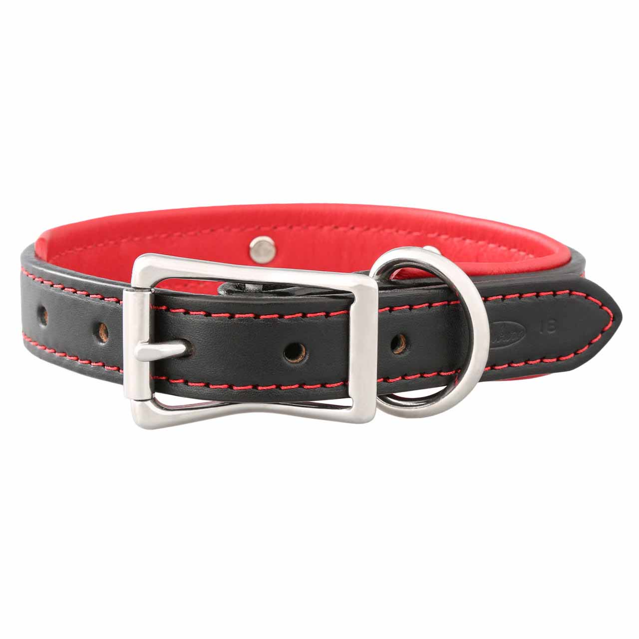 Padded Leather Collar with Nameplate Red Stainless Steel Buckle View