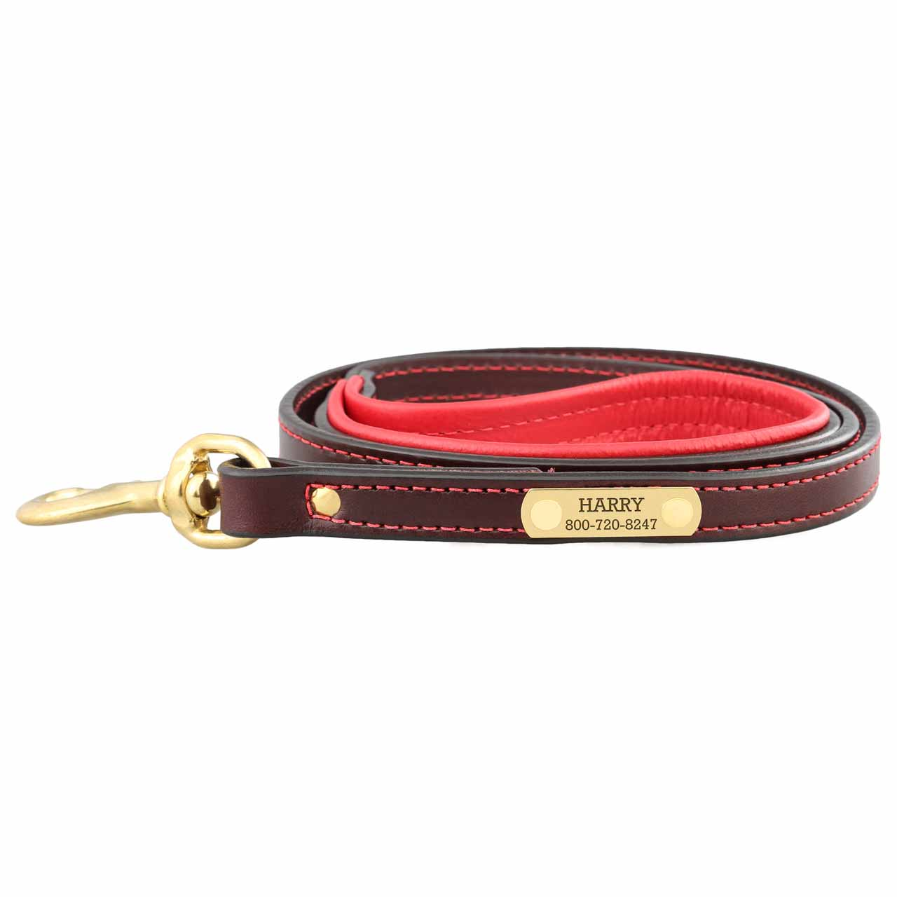 Padded Leather Leash with Nameplate - Brown with Red