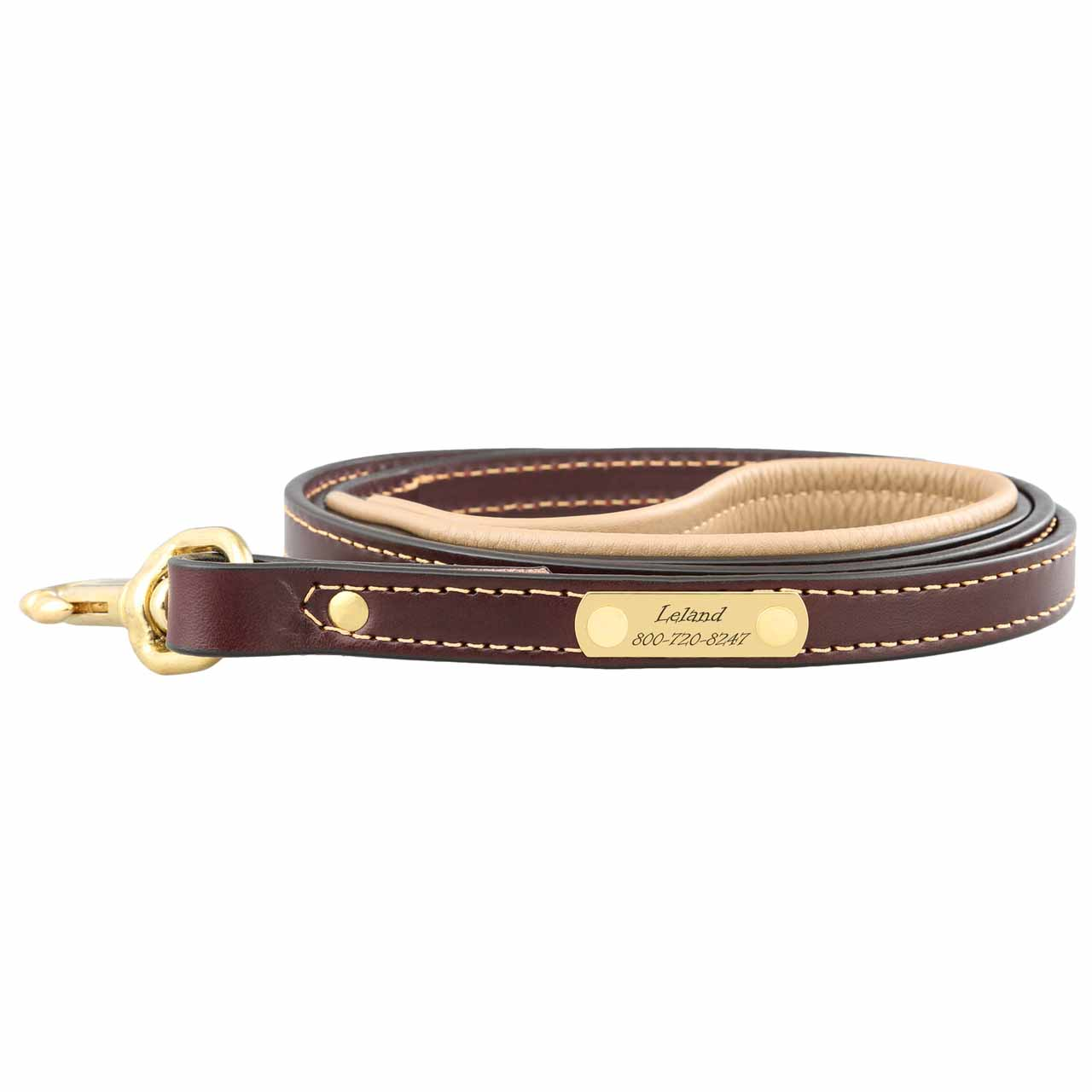 Padded Leather Leash with Nameplate - Brown with Tan