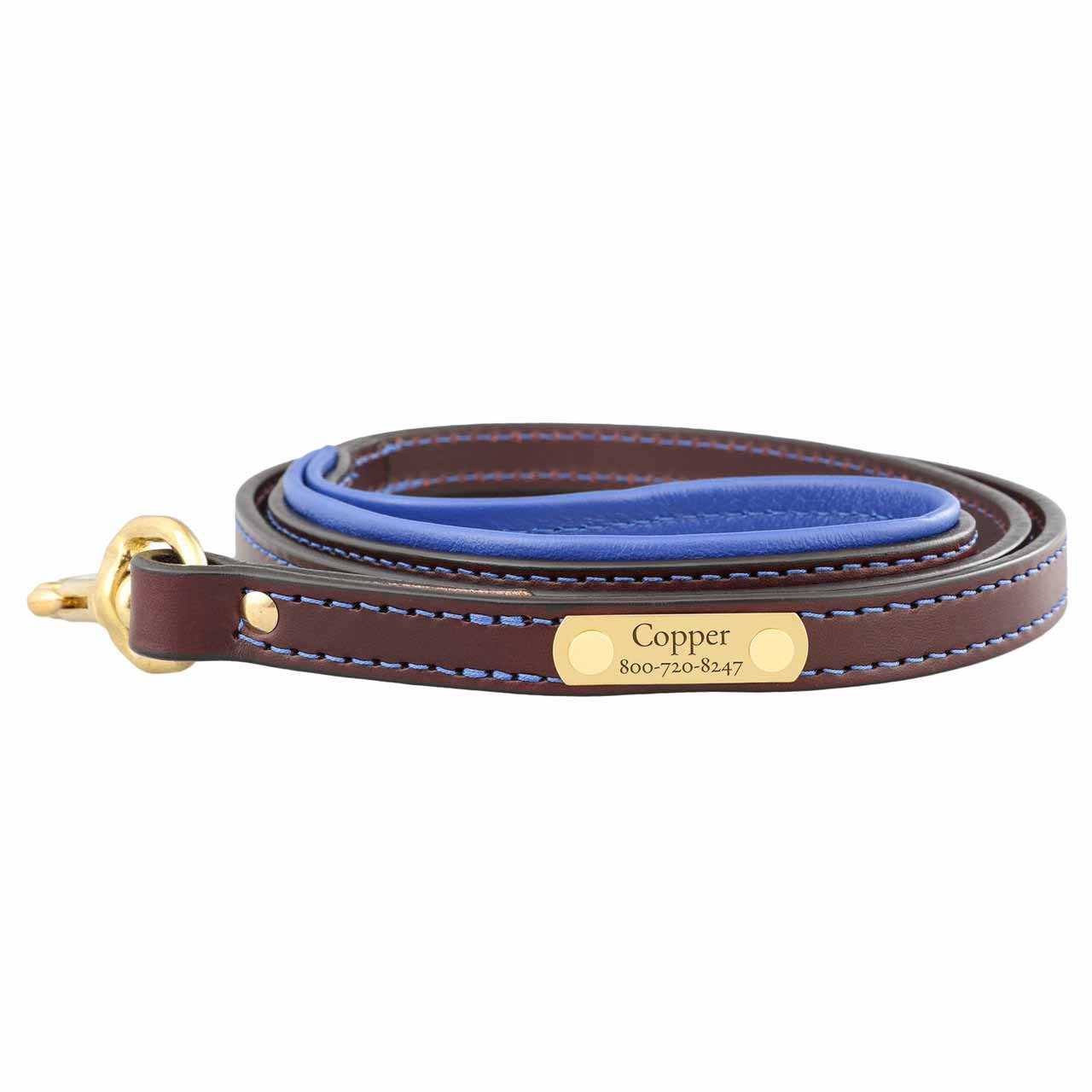 Padded Leather Leash with Nameplate - Brown with Blue