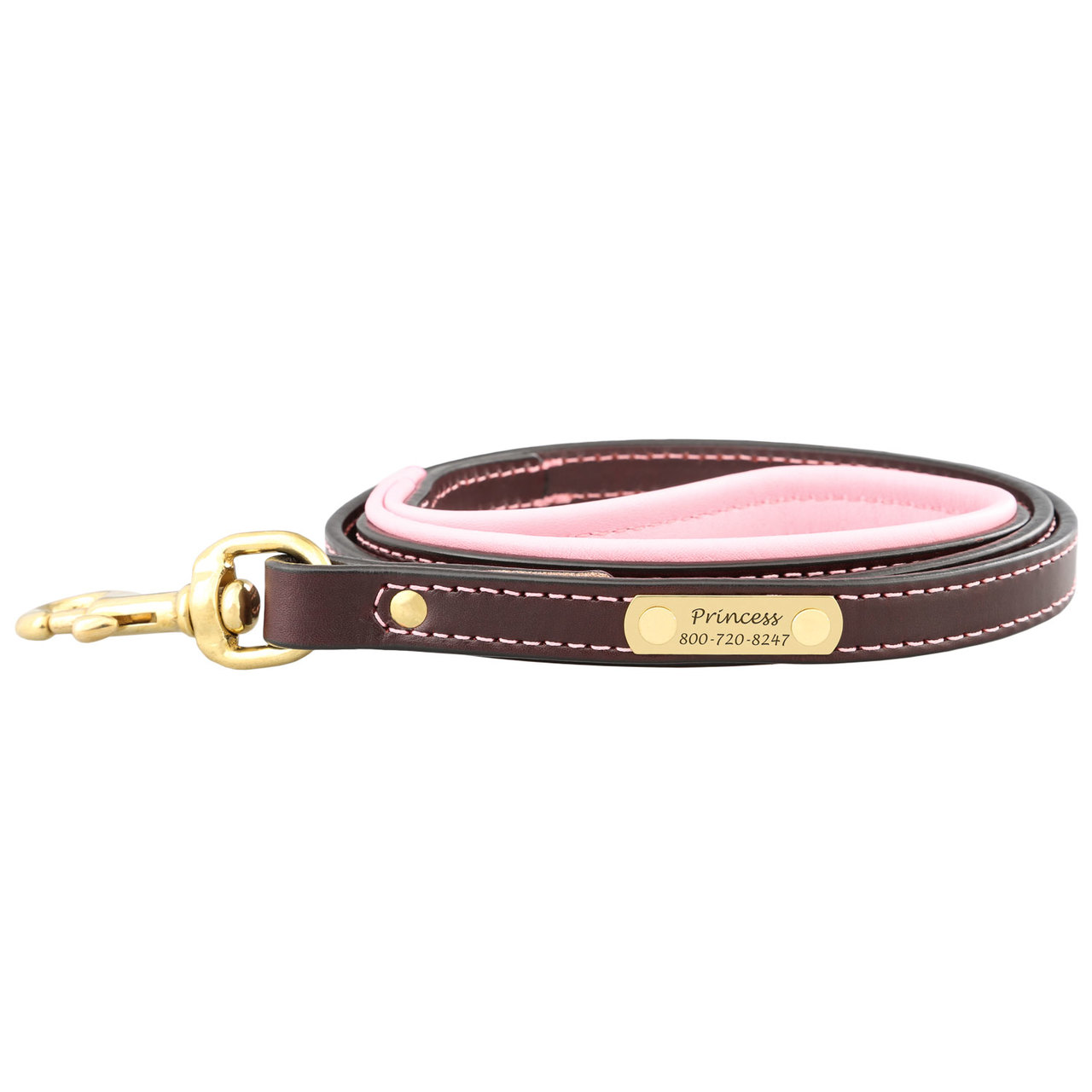 Padded Leather Leash with Nameplate - Brown with Pink