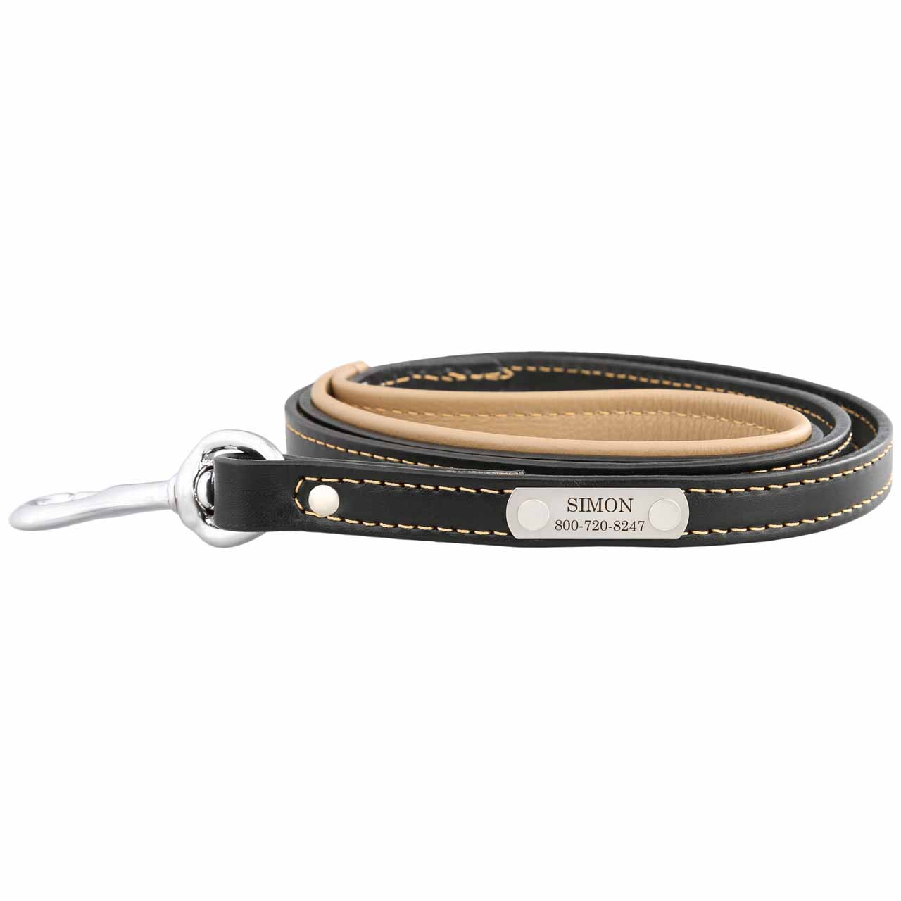 Padded Leather Leash with Nameplate - Black with Tan