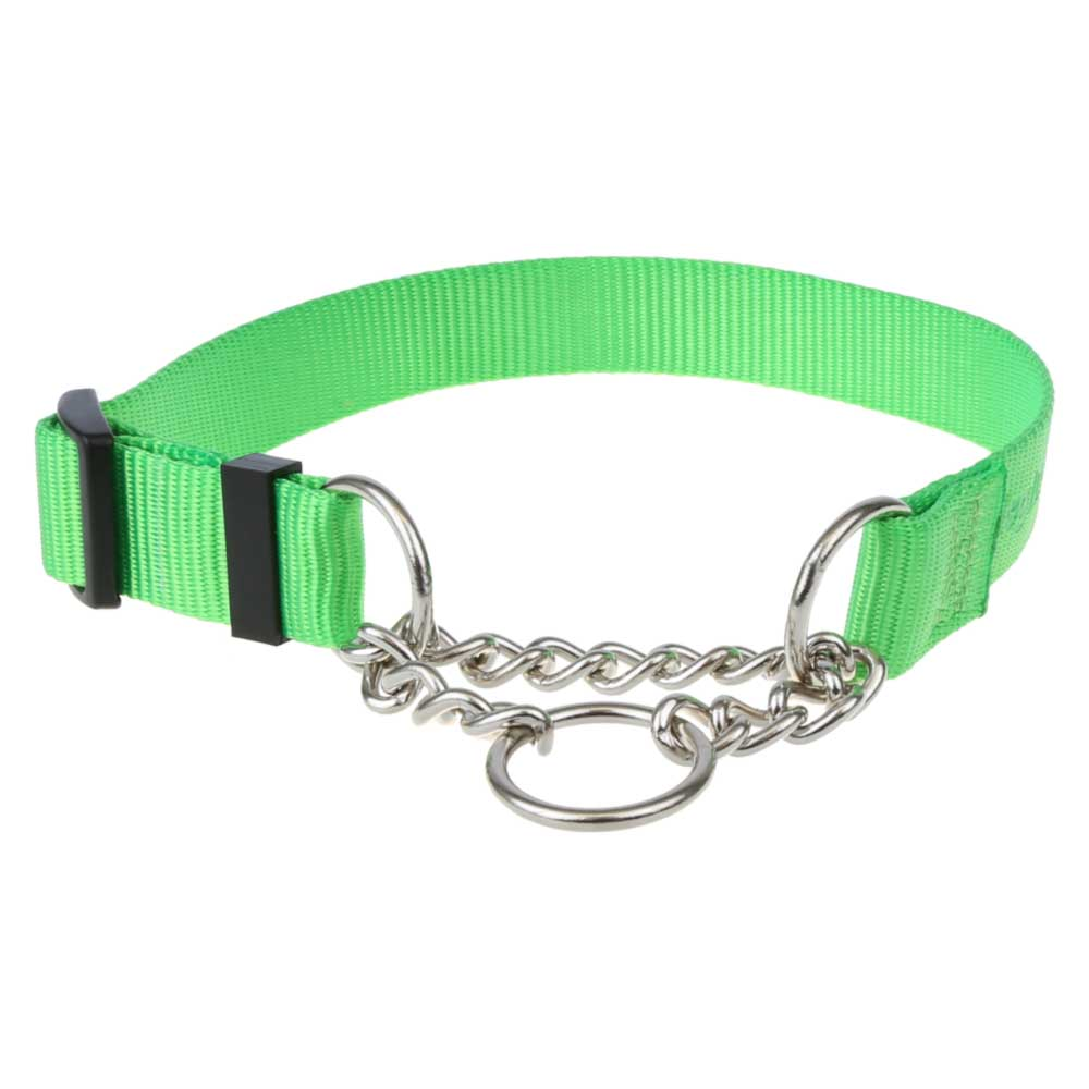 Lime Green Nylon Chain Martingale Collar