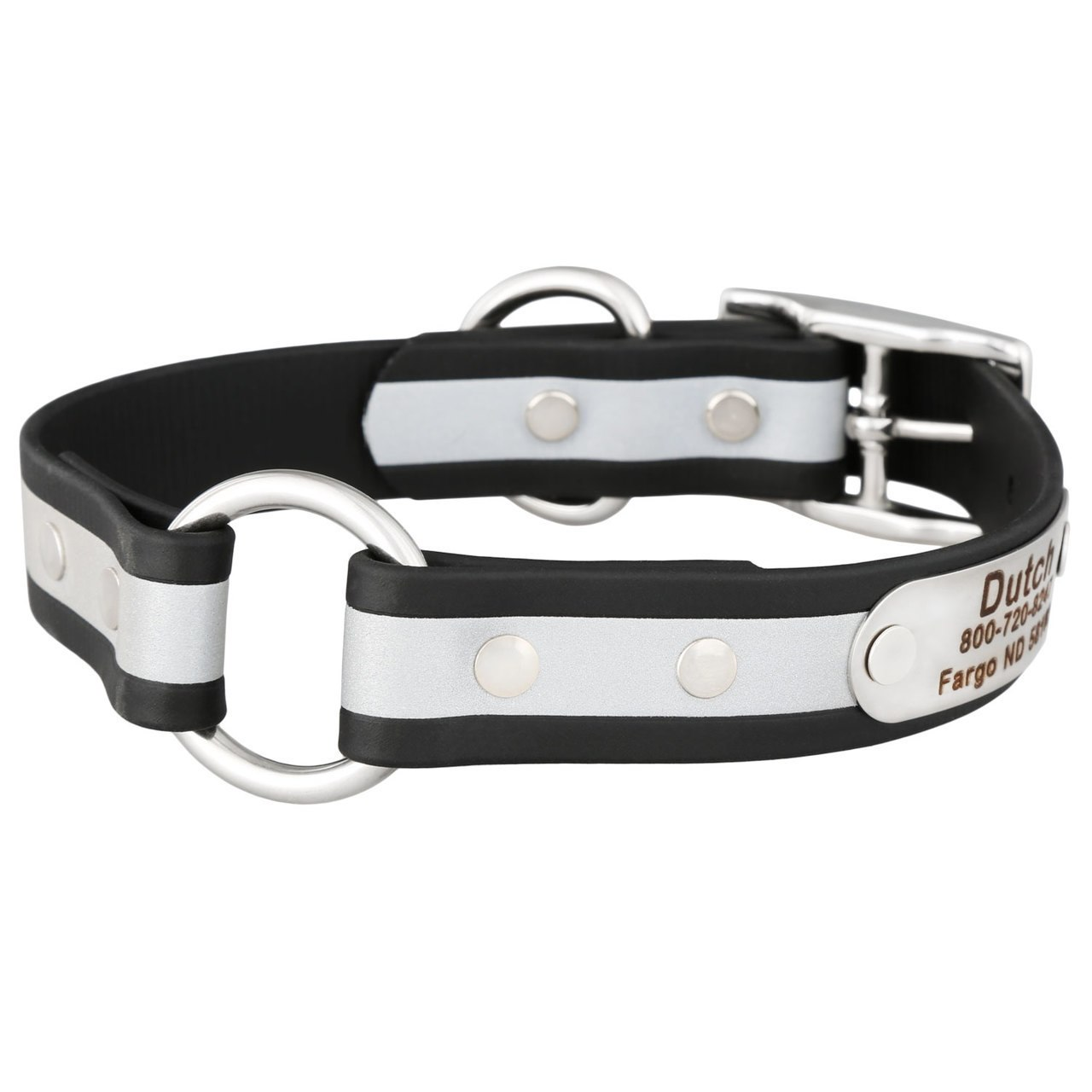 Personalized Waterproof Reflective Safety Dog Collar Black