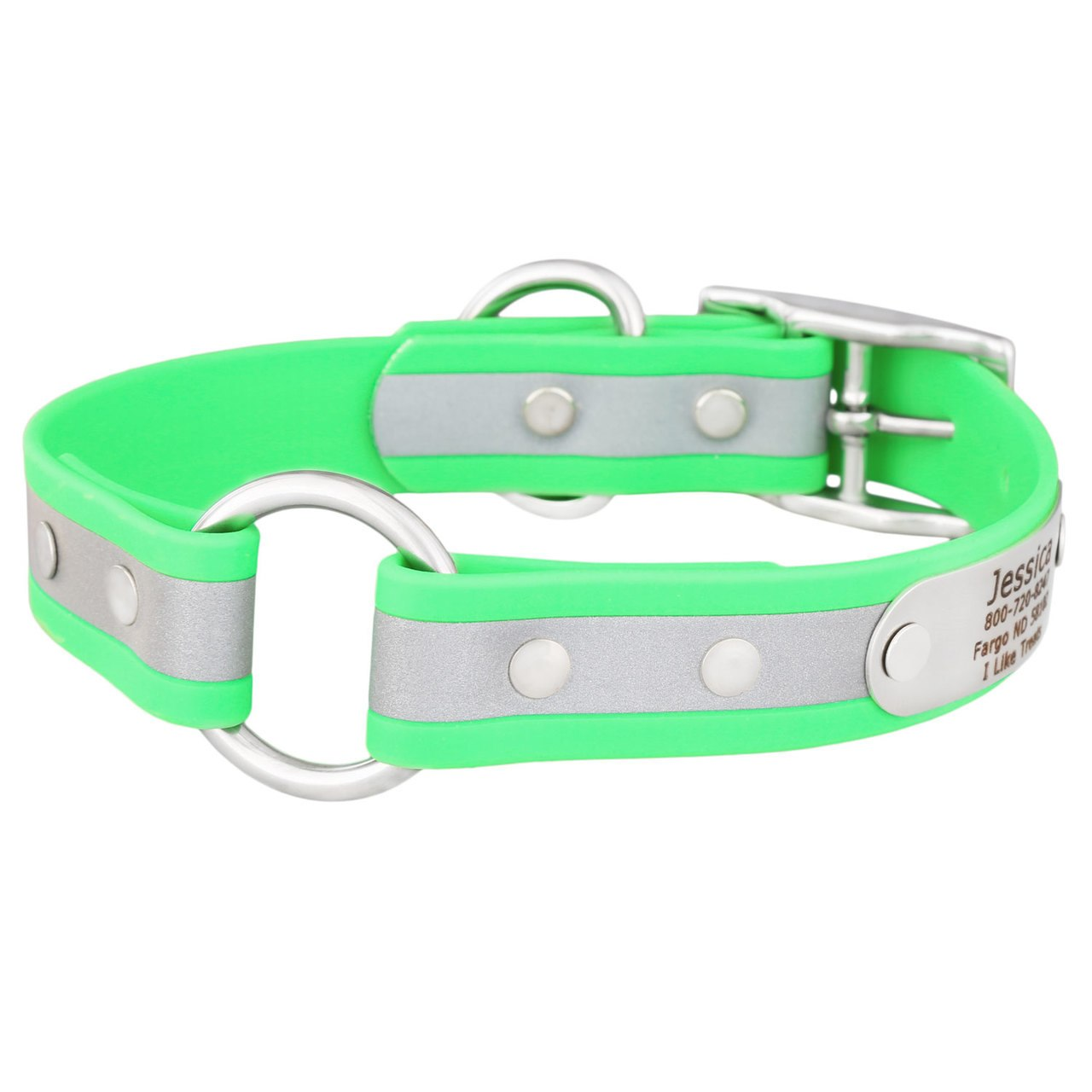 Personalized Waterproof Reflective Safety Dog Collar Green