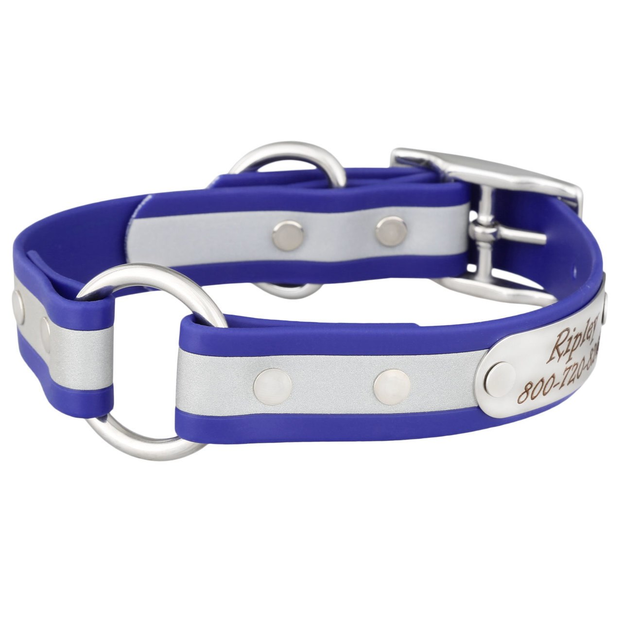 Personalized Waterproof Reflective Safety Dog Collar Blue