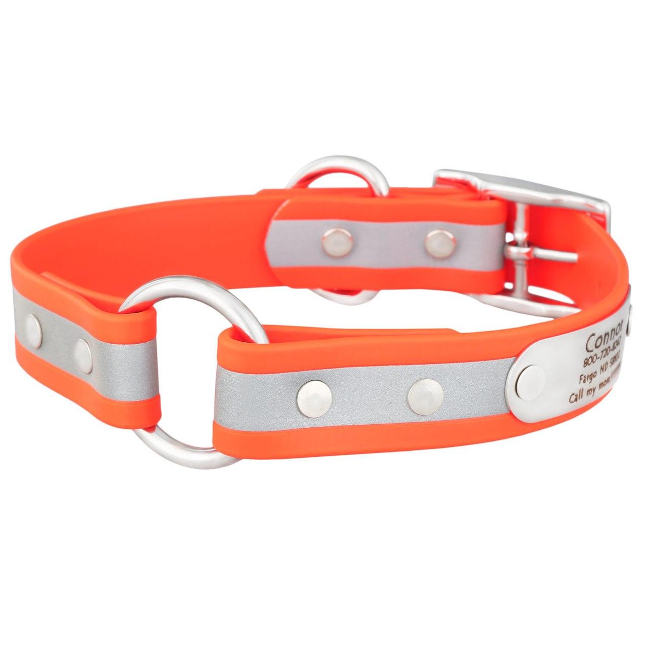 Personalized Waterproof Reflective Safety Dog Collar Orange