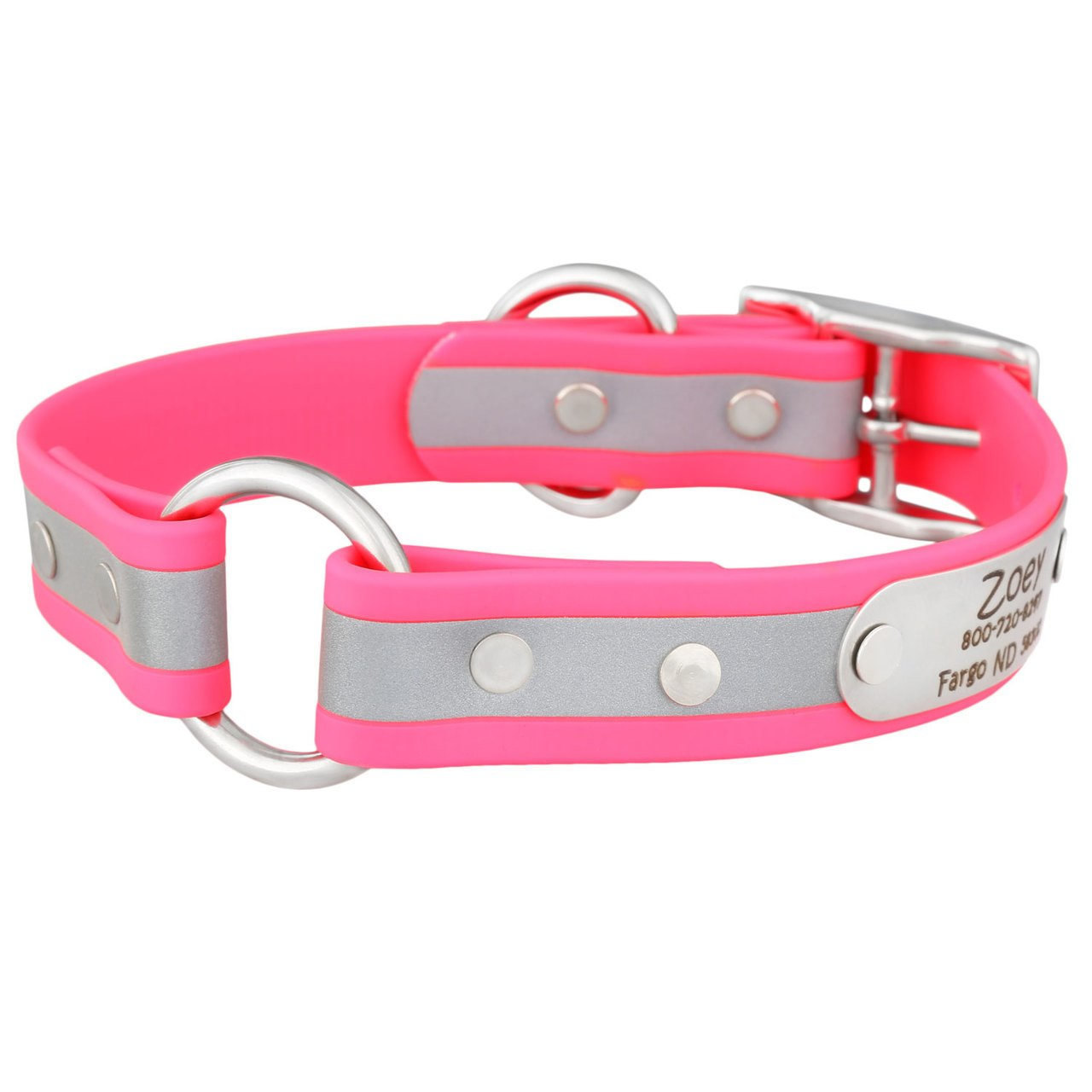 Personalized Waterproof Reflective Safety Dog Collar Pink