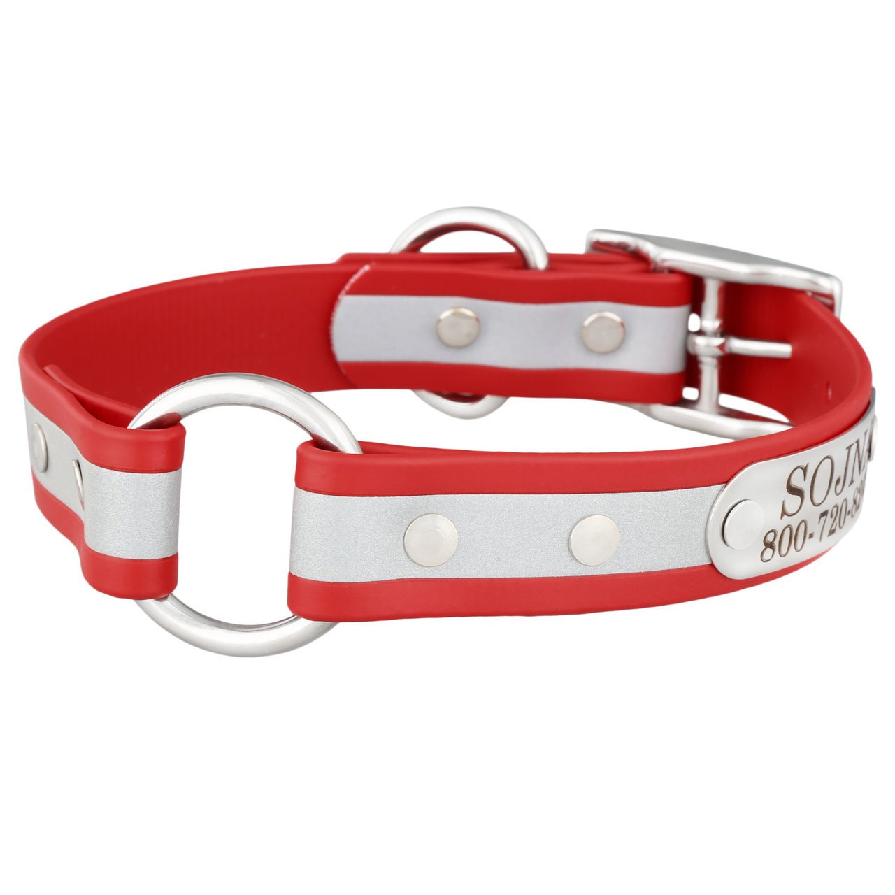 Personalized Waterproof Reflective Safety Dog Collar Red